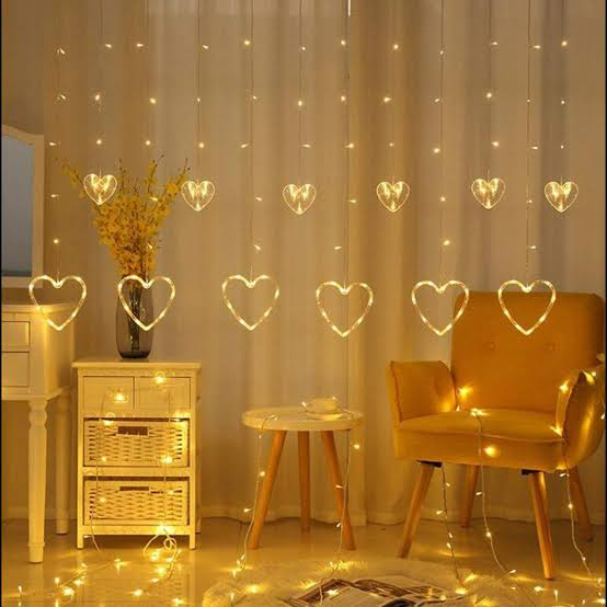 warm white heart light curtain string lights with 12 hanging hearts 8 flashing modes decoration lighting