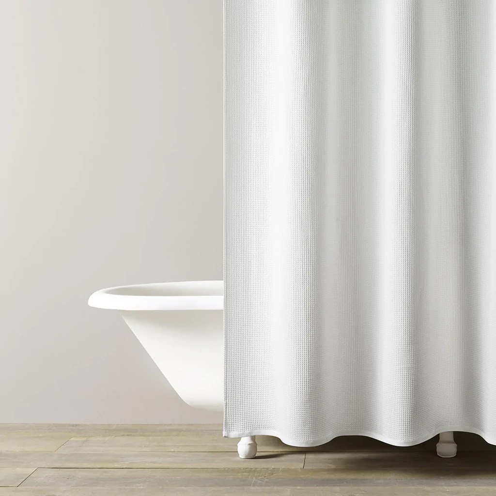 hotel waffle shower curtain