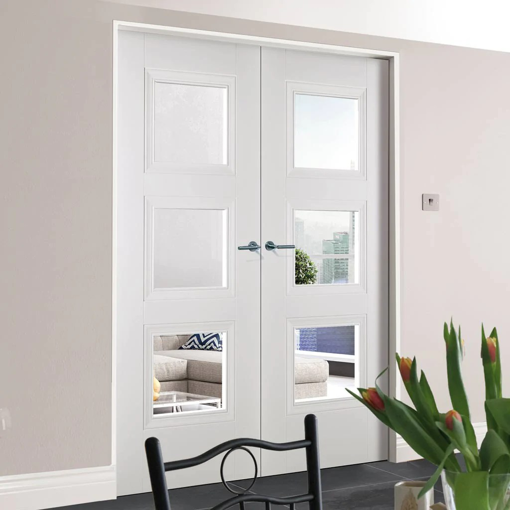 Amsterdam 3 Panel Door Pair Clear Glass White Primed