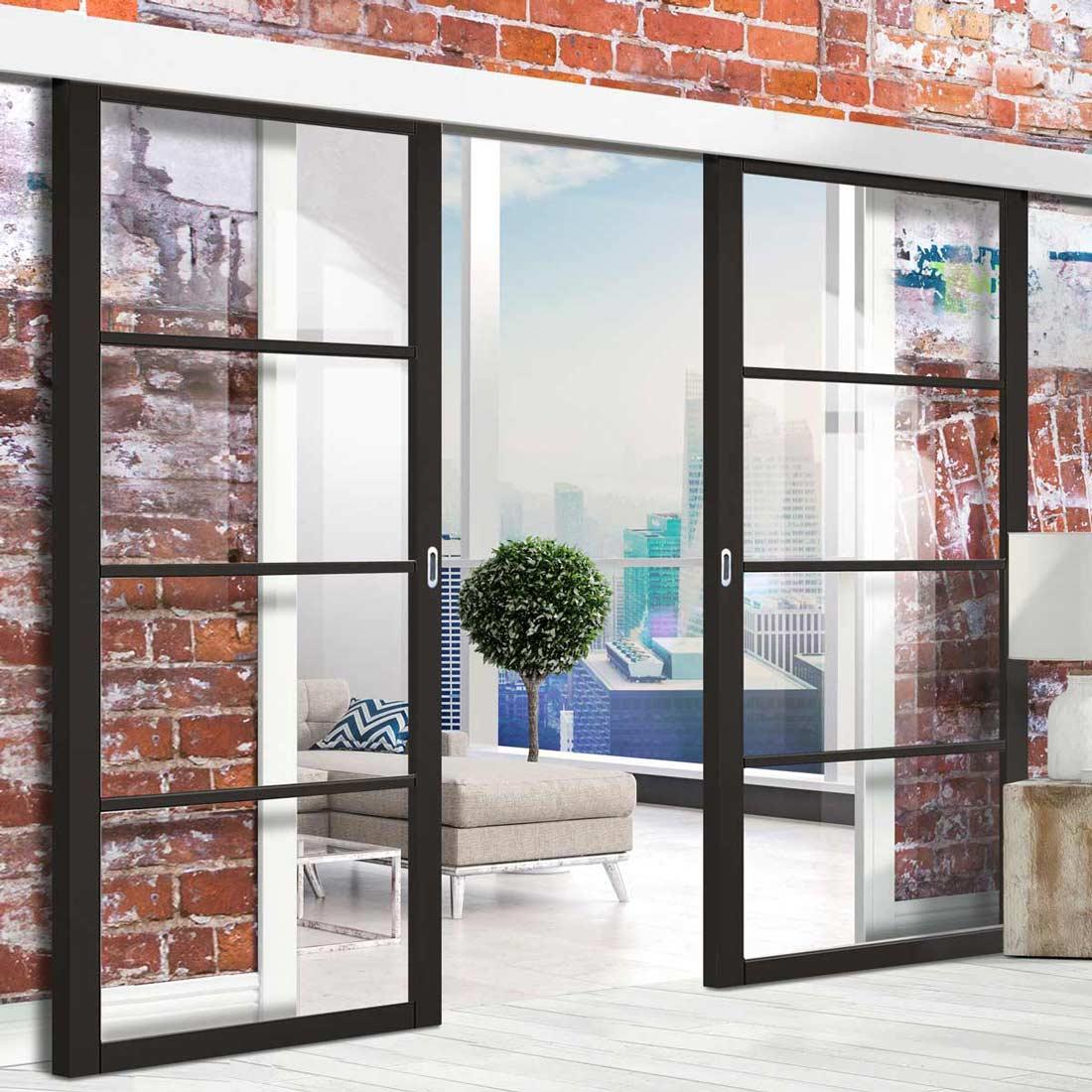 double sliding door wall track soho 4 pane door clear glass bl