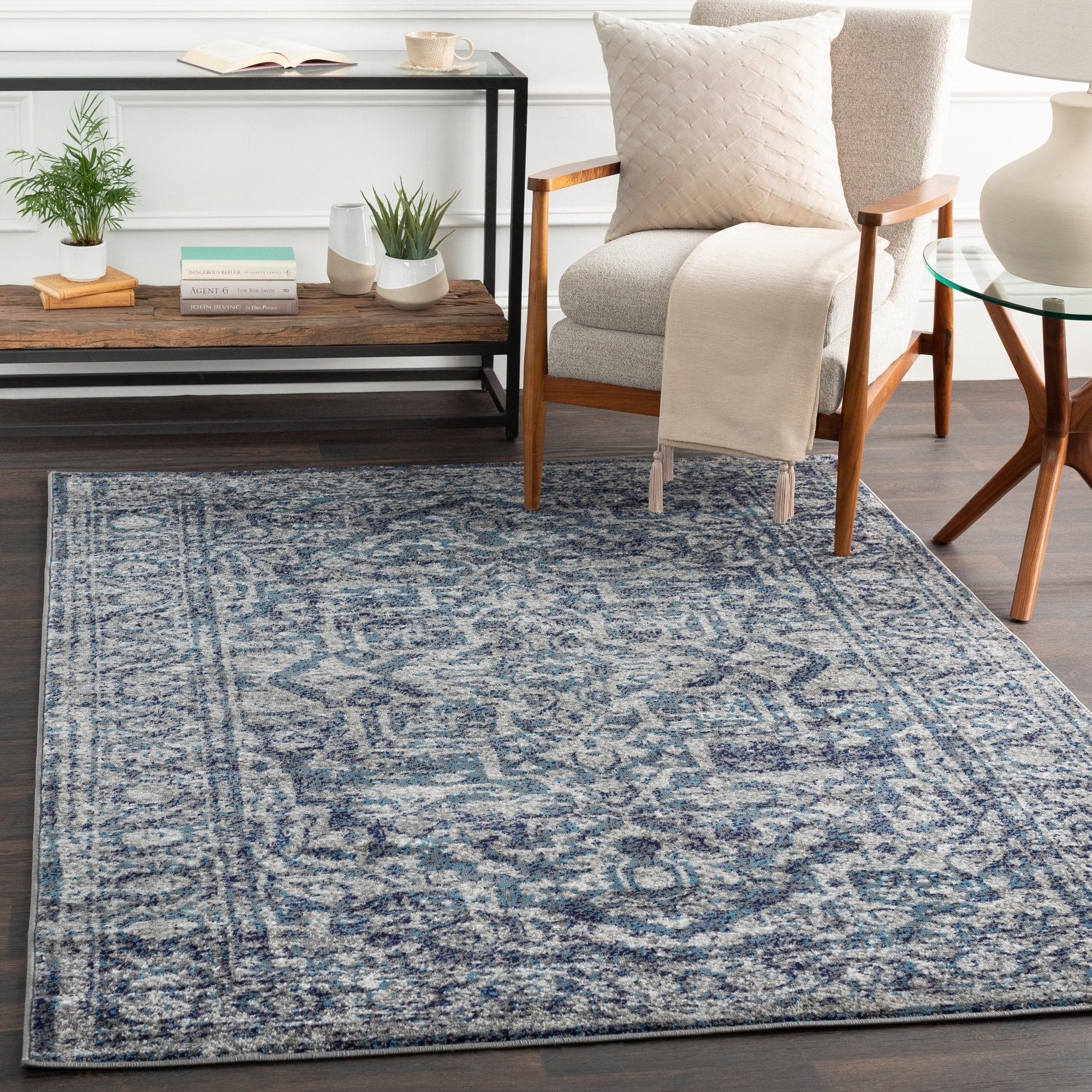 Vintage Navy Blue Gray White Area Rug Modern Rugs And Decor