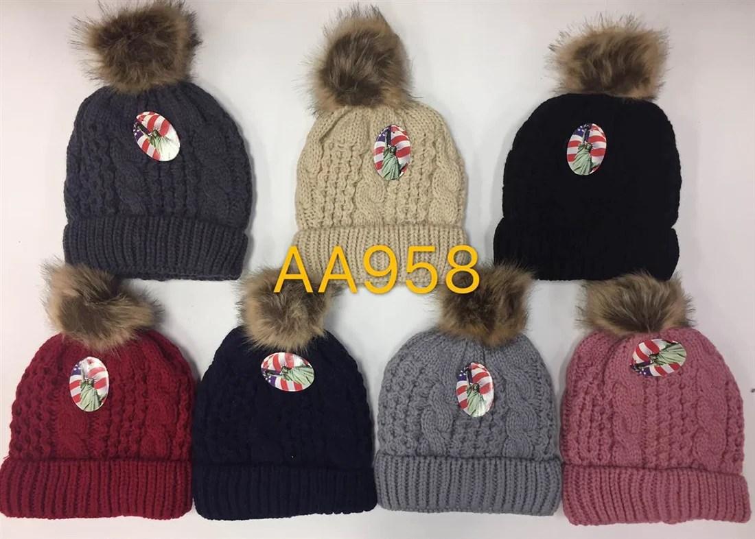 Pom Pom Knit Hats Wholesale