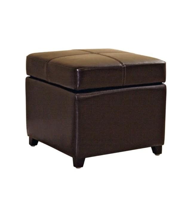 manlio dark brown square leather storage ottoman