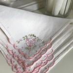 Vintage 1980s Romantic White Cotton Linen Napkins With Floral Embroide Darkparadisevintage