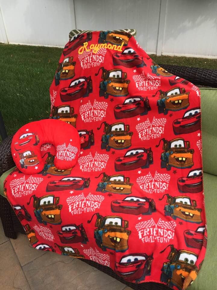disney pixar cars travel pillow and throw set personalized