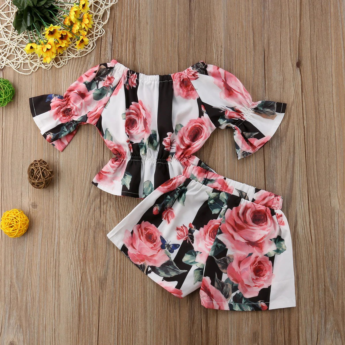 f422bb07d9 Long Flare Sleeve Floral Print Striped T Shirts Tops Shorts