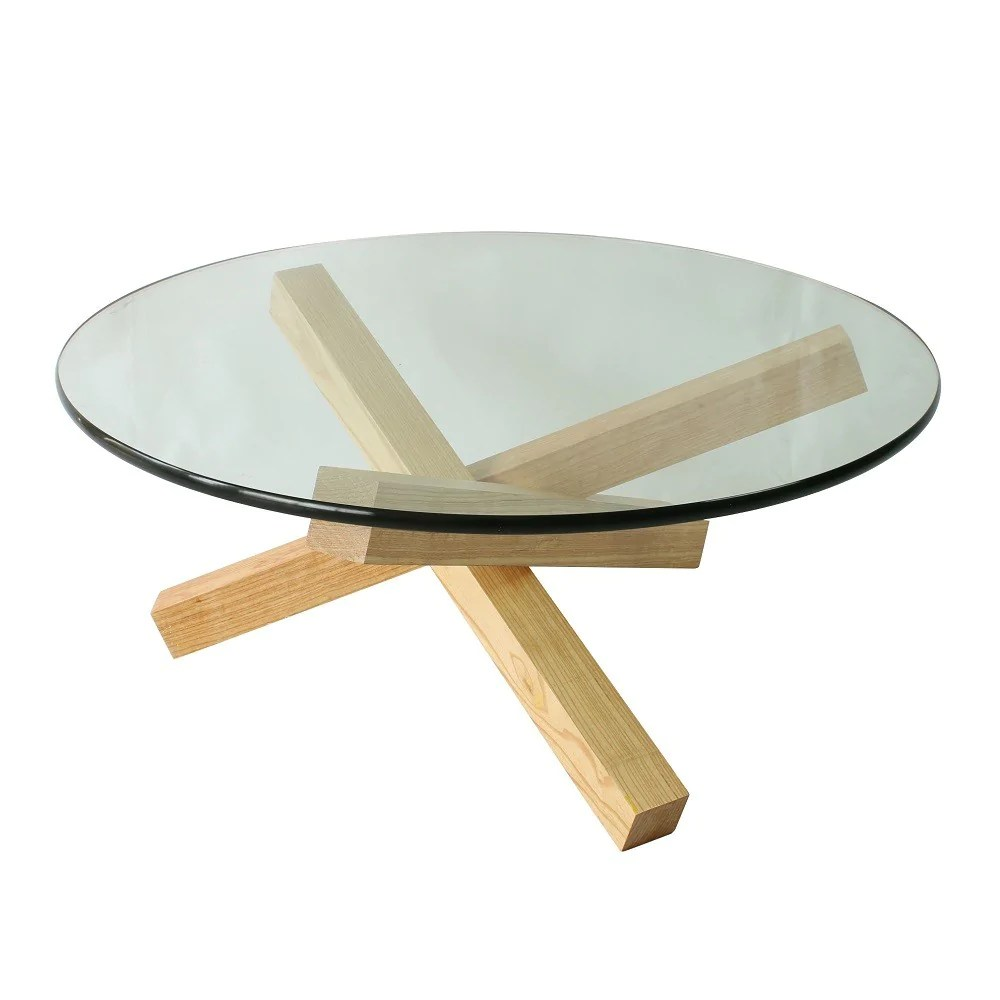 solid wood glass coffee table