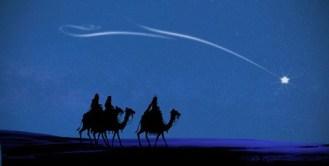 imagem de estrela cadente com a silhueta dos 3 reis magos