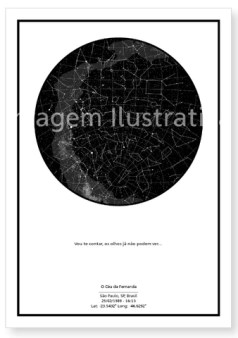 imagem do poster preto do mapa do meu céu personalizado para fernanda