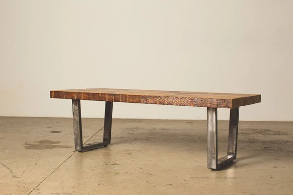 coffee table with square steel legs