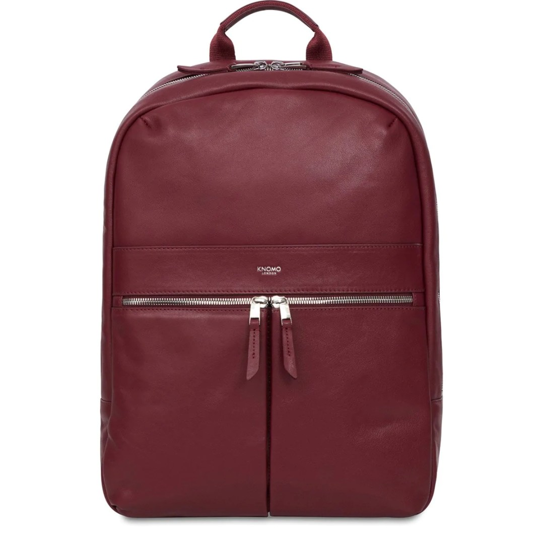 2999ae23846f KNOMO Burgundy Beaux Leather Laptop Backpack – 14″ KNOMO® – Knomo –  279.00
