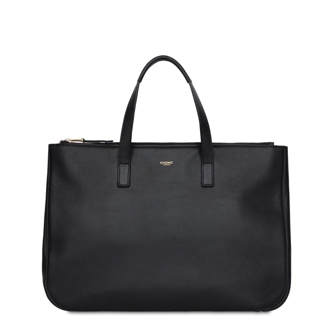 175b187bb089 KNOMO Black Derby Leather Tote 14″ KNOMO® – Knomo –  299.00