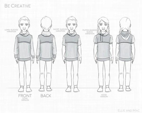 Be Creative Hoodie Sewing Pattern By Ellie and Mac Sewing Patterns