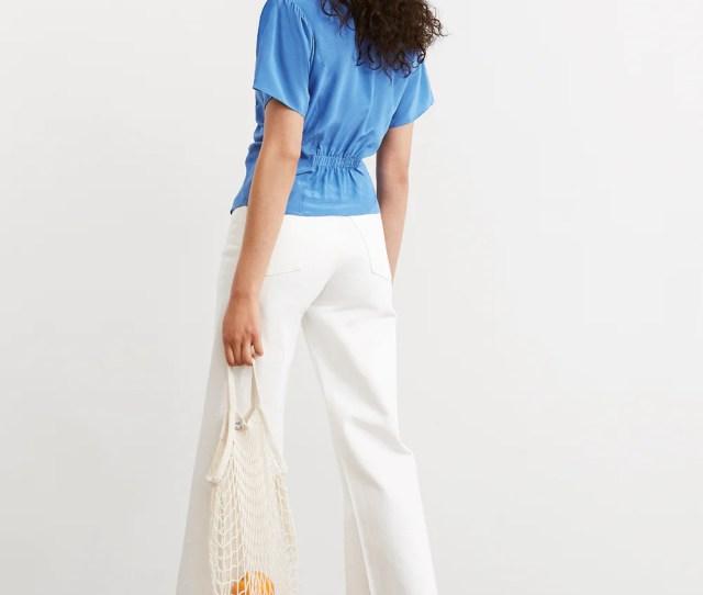 Valeria Blue Silk Ruched Blouse By Kitri Studio