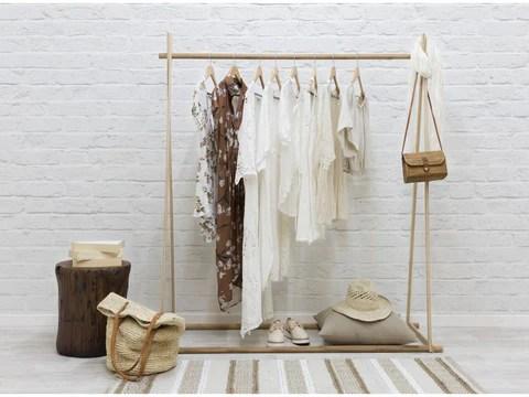 freestanding wooden clothing racks