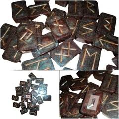 Bronze Gold Rune Stone Set RFID Handmade Bespoke Viking Runes #Rune
