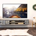 Gray Rustic Floating Tv Stand Coastal Barn Wood Style Wall Mount Enter Woodwaves