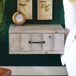 Gray Rustic Floating Nightstand Wall Mount Drawer Farmhouse Lakewo Woodwaves