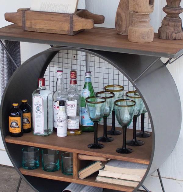Round Industrial Modern Wine Liquor Storage Cabinet