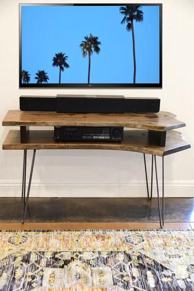 Live Edge Slab Mid Century Tv Stand Woodwaves
