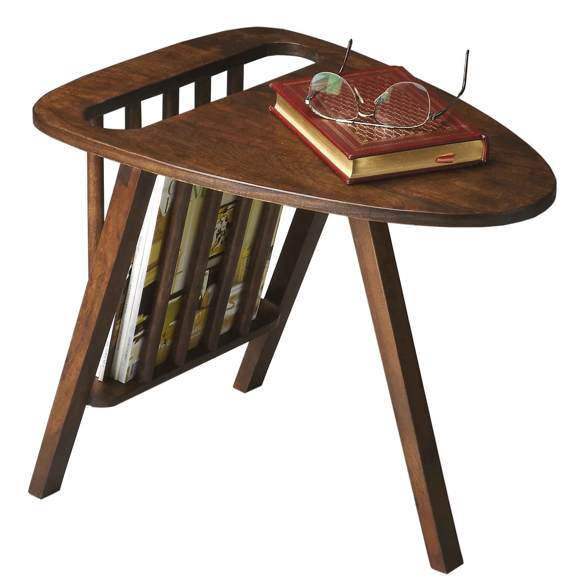 mid century modern end table with magazine rack