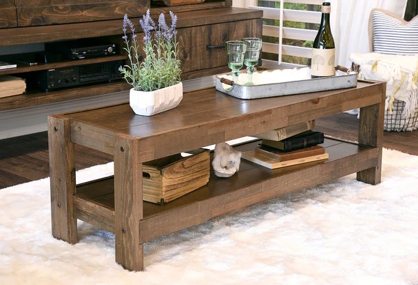 Rustic Reclaimed Farmhouse Pallet Wood Style Coffee Table