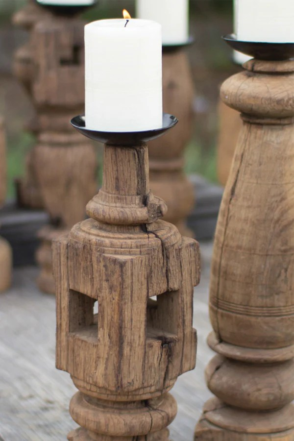 Reclaimed Wood Furniture Leg Candle Holders Set Of 3 Woodwaves