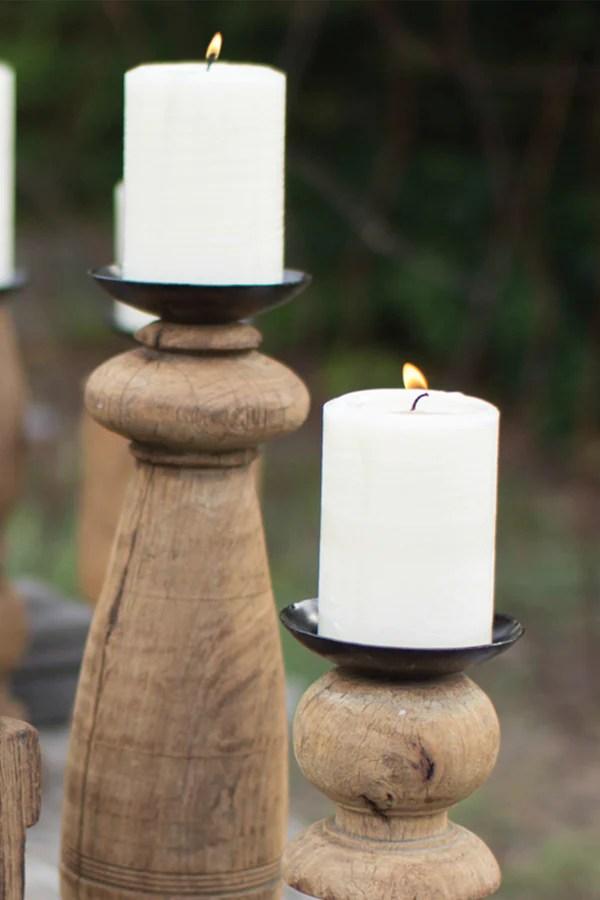 Reclaimed Wood Furniture Leg Candle Holders Set Of 3