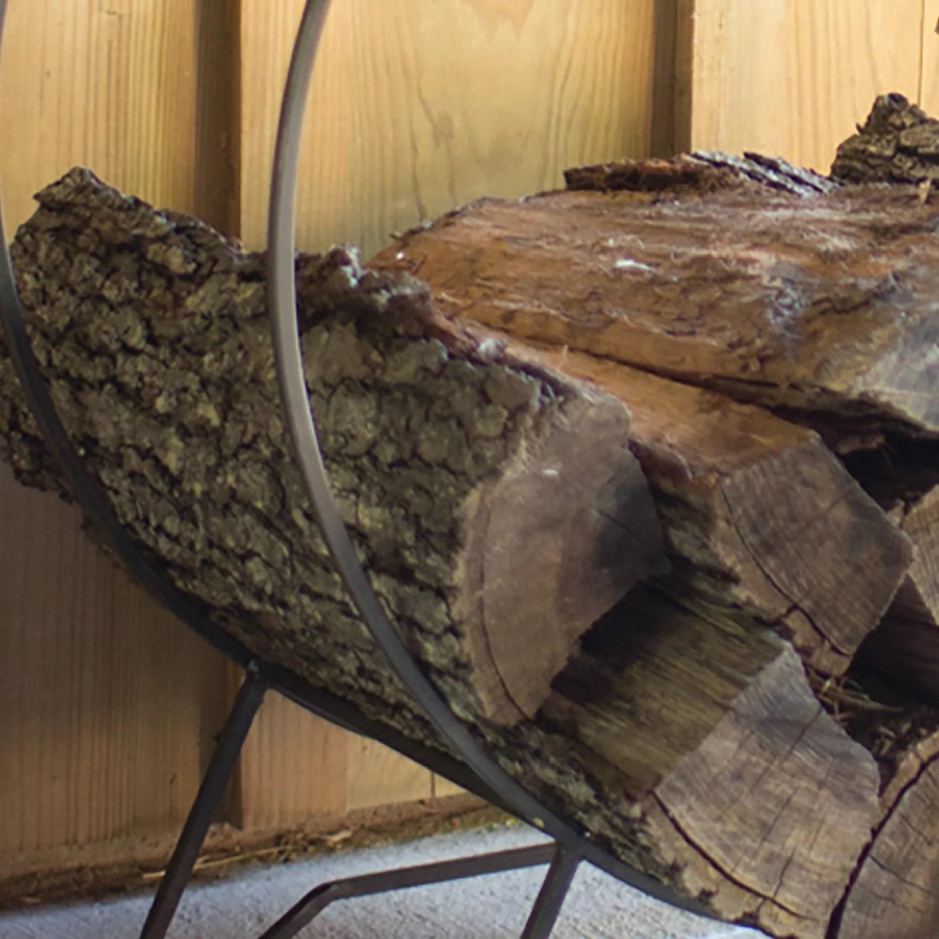 rustic industrial modern round log holder rack