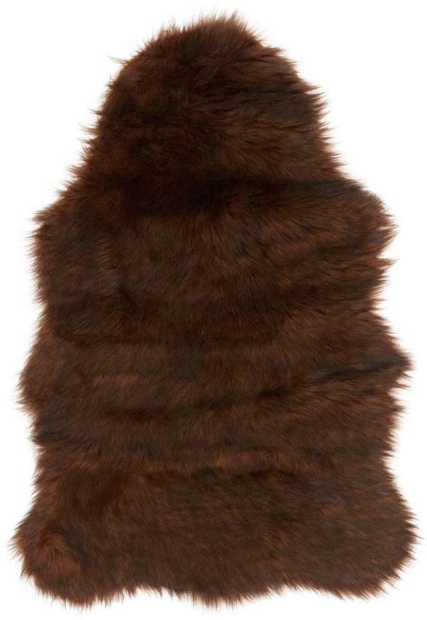 Brown Faux Sheepskin Fur Rug Woodwaves