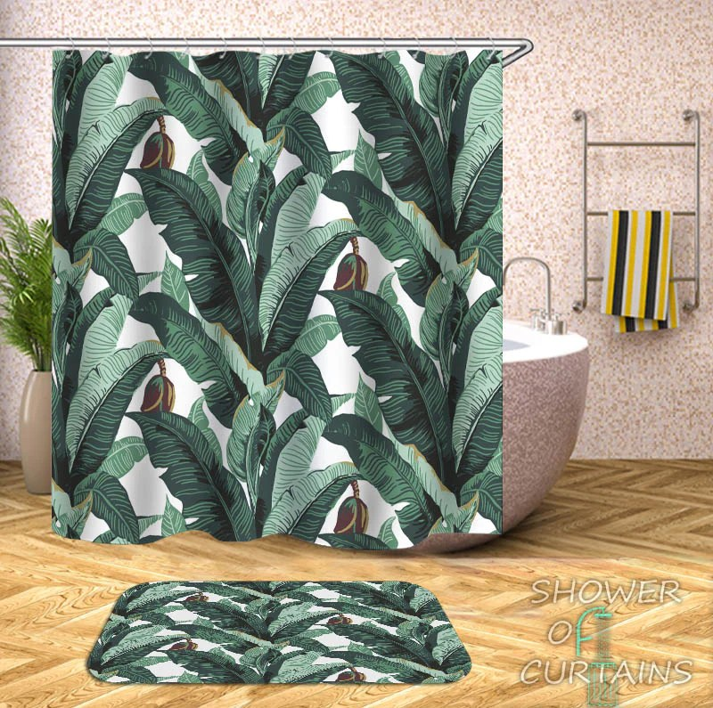banana tree leaves shower curtain