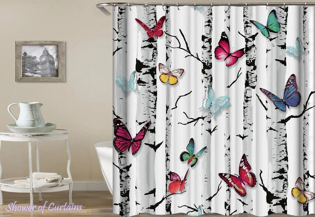 butterflies shower of curtains