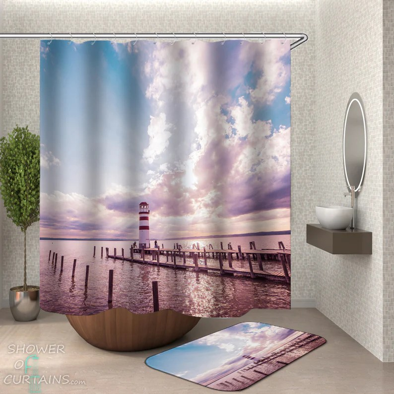 shower curtains lighthouse on the horizon shower of curtains