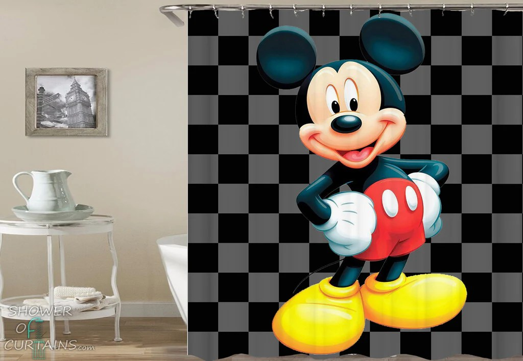 mickey mouse checkered background shower of curtains