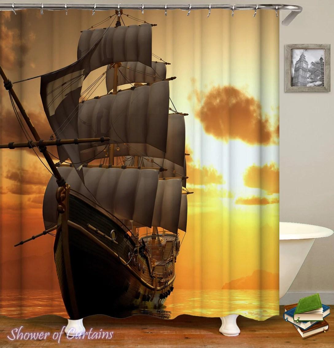 sunset sailing ship
