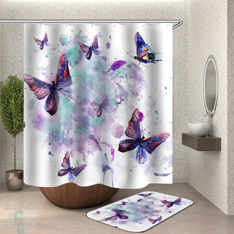 shower curtains watercolor painting butterflies shower of curtains