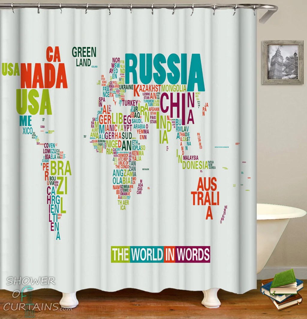 https www showerofcurtains com products the world shower curtains in words