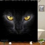 Shower Curtains Yellow Eyes Black Cat Shower Of Curtains