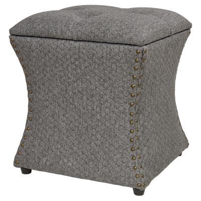 amelia nailhead storage ottoman gray honeycomb