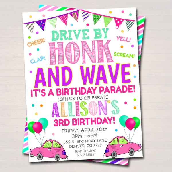 drive by birthday parade invitation virtual birthday party invitation digital kids friend party invite instant download editable template