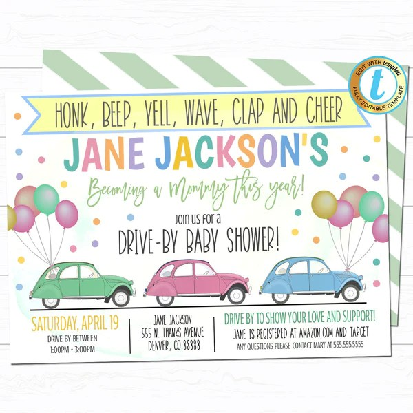 drive by baby shower parade invite