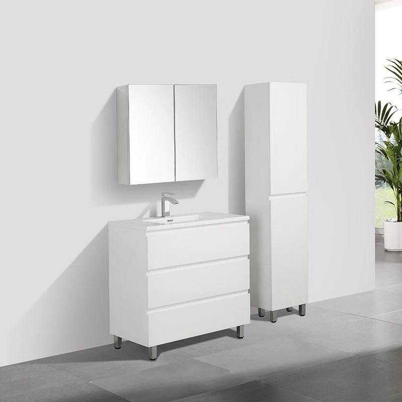 meuble salle de bain design simple vasque verona largeur 90 cm blanc laque