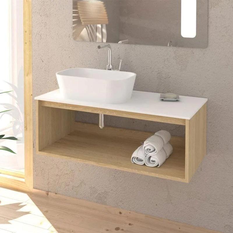 Meuble Salle De Bain Design Suspendu Uno Wood Pour Vasque A Poser Swissbain