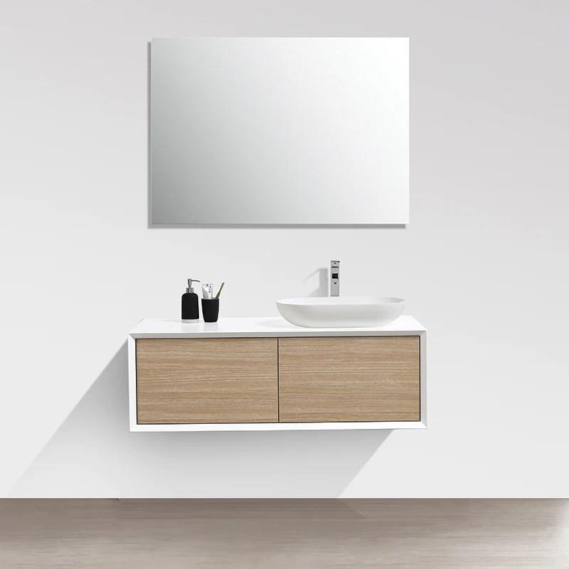 meuble salle de bain double vasque palio 120 cm blanc chene clair