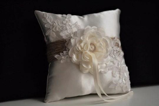 rustic ring bearer pillow rustic wedding pillow burlap wedding ring pillow basket set shabby chic wedding accessories rustic ring holder