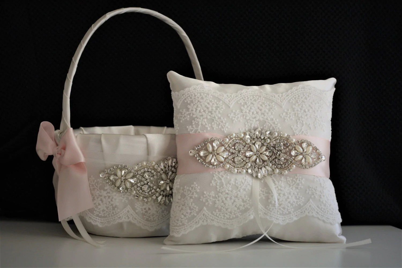 Blush Pink Flower Girl Basket And Ring Bearer Pillow