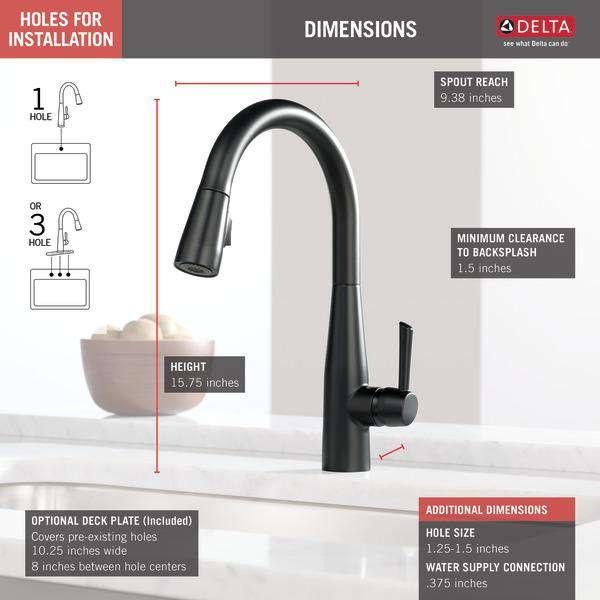 delta faucet 9113 bl dst essa single handle pull down kitchen faucet