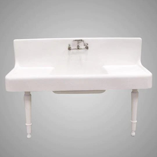 alma 60 cast iron wall hung kitchen sink with drainboard