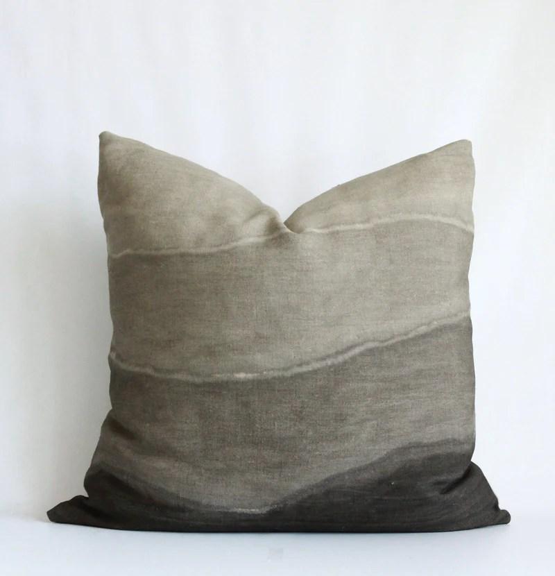 charcoal gradient hemp pillow