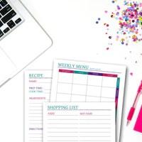 Printable Weekly Menu Planner Set